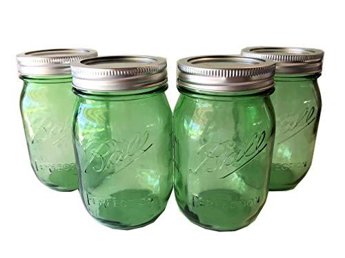 Ball Mason Jar-16 oz. Green Glass Heritage Collection - Set of 4 (Green Jar Glass)