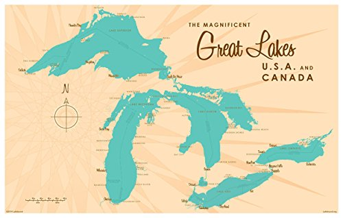 [해외]Great Lakes Vintage-Style Map Art Print Poster by Lakebound (12 x 18). / Great Lakes Vintage-Style Map Art Print Poster by Lakebound (12 x 18).