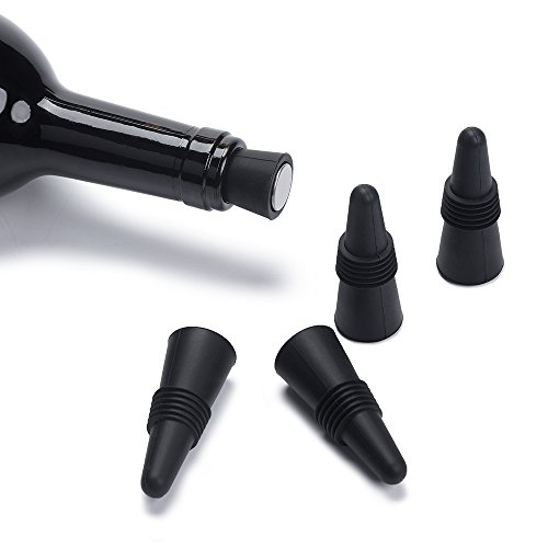 OHYOHO Wine Stoppers (Set of 5), Silicone Reusable Wine Bottle stopper and Beverage Bottle Stoppers, Black