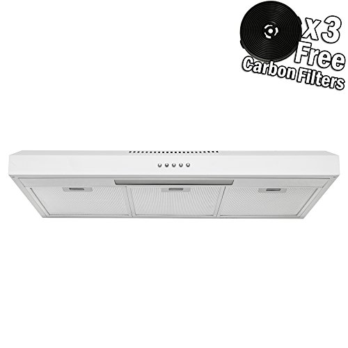 (AKDY 36 in. 58 CFM Convertible Under Cabinet Range Hood in White Painted Stainless Steel with)