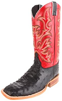 """Justin Boots Men's U.S.A. Aqha Lifestyle Collection 13"""" Remuda Series Boot Wide Square Double Stitch Toe,Black Full Quill Ostrich/Red Soft Ice,8 EE US"""