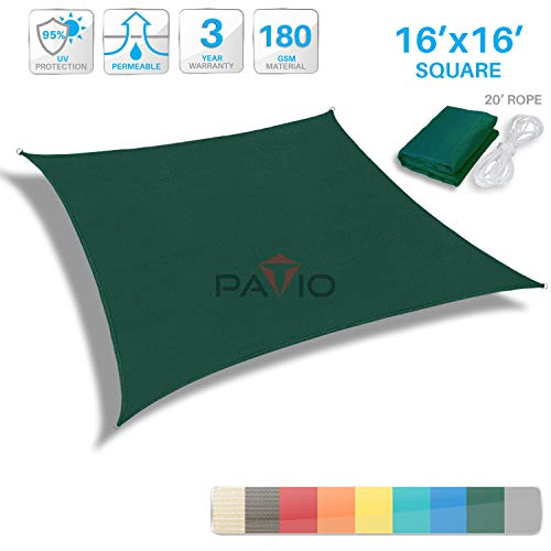 - Patio Paradise 16'x16' Dark Green Sun Shade Sail Square Canopy - Permeable UV Block Fabric Durable Patio Outdoor