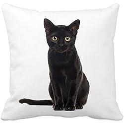 "Halloween Black Cat Throw Pillow Case Cushion Cover Decorative 18"" x 18"""
