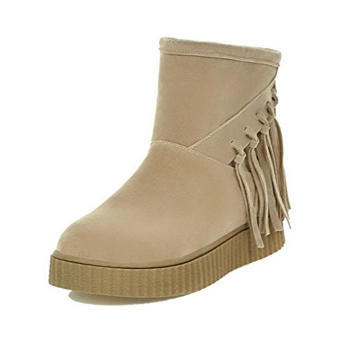 Allhqfashion Women's Pull-On Low-Heels Imitated Suede Solid Low-Top Boots Beige