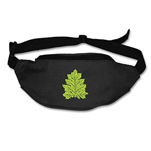 Acanthus Leaf Waist Pack Portable Fanny Pack Outdoor Hiking Travel Waist Bag for Daily Life Cycling Camping Hiking Hunting Fishing Shopping - Black