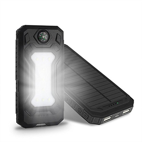 Solar Charger Case, Uranny Solar Charger Case, Waterproof 20000mAh Power Bank 2 USB Solar Charger Case with LED Flashlight for iPhone/ iPhone 6/ 6s/ 7/ 7 plus/ Cell Phone/ Samsung/ Android (Battery Not Include) (Black)