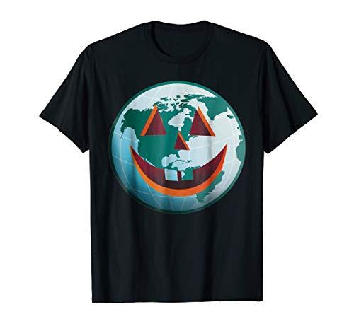 Haunted World Carved Globe Jack O Lantern Halloween T-shirt -