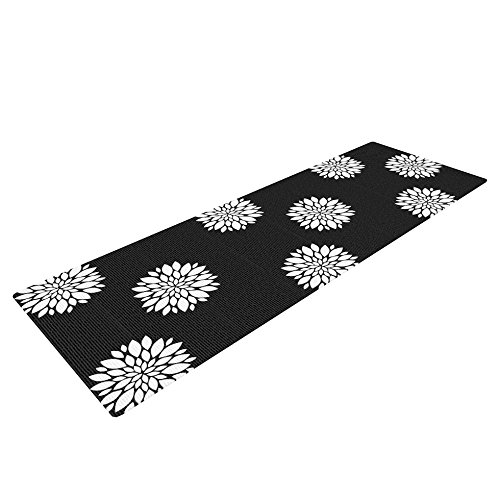 Kess InHouse Suzanne Carter Peony Rose Yoga Exercise Mat, Black/White, 72 x 24-Inch