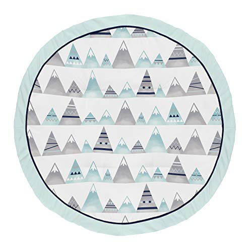 Sweet Jojo Designs Navy Blue, Aqua and Grey Aztec Playmat Tummy Time Baby and Infant Play Mat for Mountains Collection