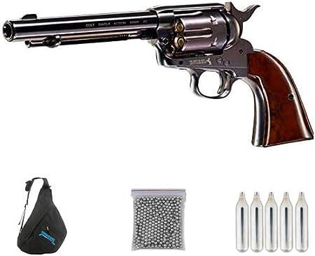 Colt SAA Armmy 45 Pavon 5,5″ | Pack Pistola de balines (perdigones Bolas de Acero BB's) Arma de Aire comprimido CO2 Calibre 4,5mm <3,5J