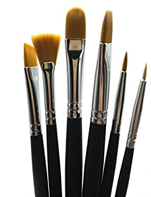 Rigger Art Professional Grade Painting Brush Set - 6 Soft Precision Paintbrushes - Watercolor Paint Brushes (for Acrylic, Oil, Face & Craft) Short Handle - Zippered Case Art Supplies
