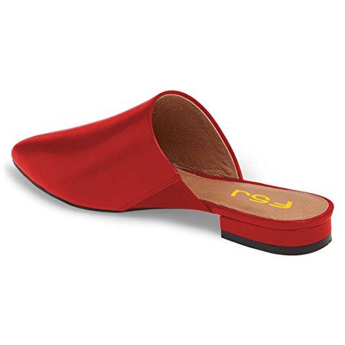 Fsj Donna Slip On Flats Scarpe A Punta Mule Sandali Con Mocassini Scarpe Taglia 4-15 Us Rosso