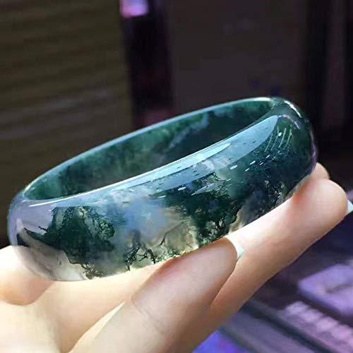 - HSUMING Jade Bangle Green, Natural Jade Grade A Green Water Grass Floating Flowers Bangle Bracelet for Women (56-62mm),62