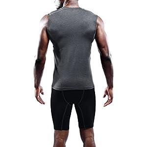 Neleus Men's 3 Pack Compression Athletic Sport Sleeveless Tank Top,02,Black,White,Grey,L,Tag XL
