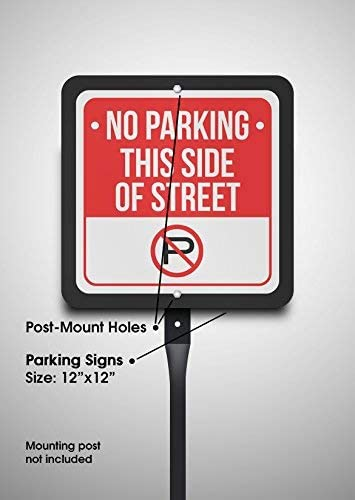 12x12 6 Pack of Signs White and Red Metal Square Sign No Parking This Side of Street with Symbol Print Black
