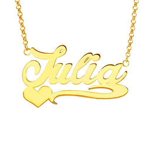 YINSHIFU Name Necklace Personalized Name Plate Pendant Necklace with Heart in 18K Gold Plated (Julia) (Free Nameplate)