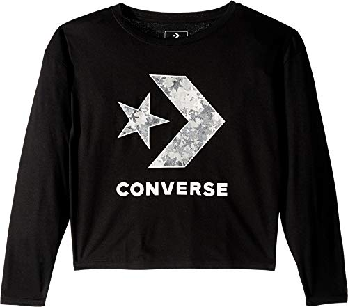 Converse Kids Girl's Oversized Star Chevron Top (Big Kids) Black Medium ()