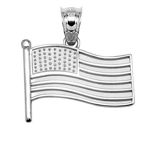 14k White Gold American Flag Charm Pendant