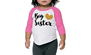 Big Sister Shirt Pregnancy Announcement Photo Prop (18-24 Months Pink Sleeves)