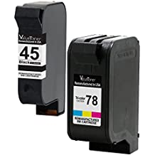 Valuetoner Remanufactured Ink Cartridge Replacement For HP 45 78 C8788FN 51645A C6578DN (1 Black, 1 Tri-Color) 2 Pack Compatible HP With Color Copier 180 190 280 290 310 Deskjet 1220C 1280 6122 6127