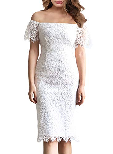 Summer Floral Lace Dress Casual to Wear to a Wedding Elegant Women Clothing Knee Length Midi Cocktail Party Wedding Guest Dresses 929 (L, White) ()