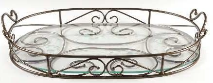 (5339 - Princess House 2 Piece Metal and Crystal Tray)