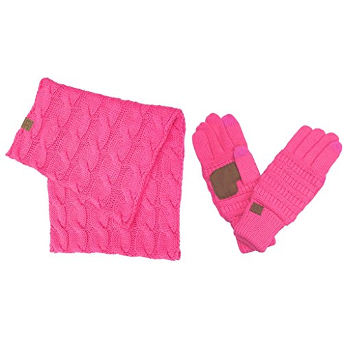 Hatsandscarf CC Exclusives [11% DISCOUNT for SET] Solid Ribbed Knit Scarf and Smart Tip Glove 2 Set (SF-800/G-20-2SET)) (New Candy Pink Set)