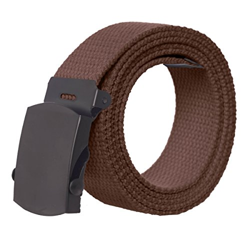 Canvas Military Style Belt with Black Buckle – Brown