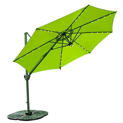 COBANA 10' Offset Patio Umbrella with Solar Powered 32LED and Blue-Tooth Speaker and 360 Degree Rotation Pole, Lime Green