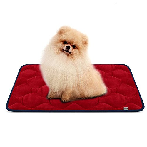 Dog Bed Mat Washable - Soft Fleece Crate Pad - Anti-slip Matress for Small Medium Large Pets (Red S) by HeroDog