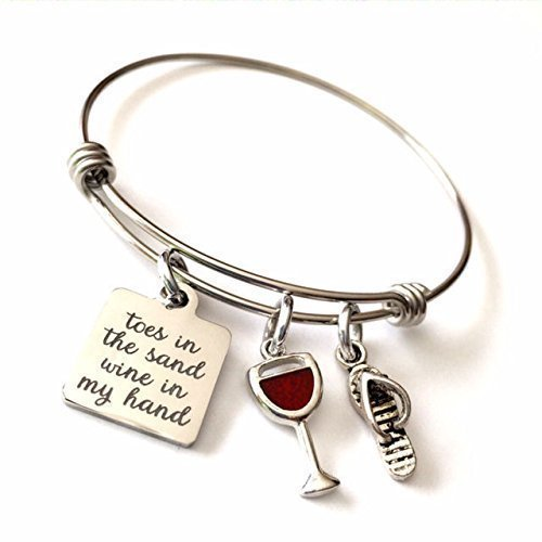 Toes in the Sand Wine in My Hand, Wine Lovers Beach Expandable Bangle Bracelet (Handmade Sand)