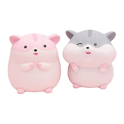 PRETYZOOM 2pcs Piggy Bank Cute Hamster Saving Pot 2020 Chinese Zodiac Coin Money Bank Coin Storage Container for Home Living Room Decorations Gift (Grey Pink): Toys & Games