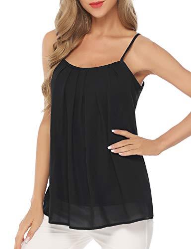 (Aibrou Womens Satin Camisole Cami Plain Strappy Vest Top T-Shirt Blouse Tank Shirt V-Neck Spaghetti Strap)