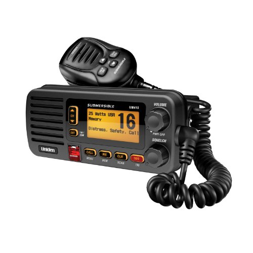 Mic Wiring Cb Radio (Uniden UM415 Advanced Fixed Mount VHF Marine Radio DSC, USA/International/Canadian Marine Channels, 1 Watt/25 Watt Transmit Power, Ultra Compact Rugged Construction and JIS7 Submersible, Black Color)