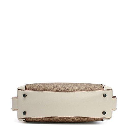 sac 31 toile Coach signature White Edie Leather craie bandoulière enduit de à wZOT0Onxp