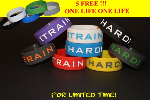 FREE 5 One Life One Chance wristbands w/ purchase of 8 Pk of ''TRAIN HARD'' Silicone 1'' Inch Wristband - Blue/White, White/Blue, Grey/Orange, Grey/Green, Black/White, White/Black, Yellow/Grey, Red/White, Purple/white. **ORIGINAL DESIGNED BY TIFEPIPHANY** by tifepiphany