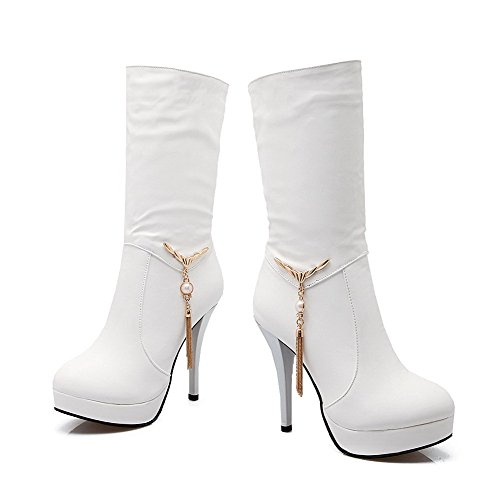 Soft Women's Pull Round Heels Material White Closed High Mid AgooLar Boots Toe top on qAXgX1w