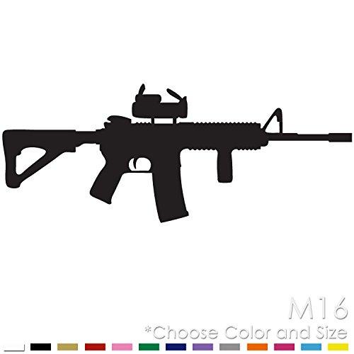 M16 AR15 Rifle Machine Gun Military Firearm Vinyl Decal Sticker (M-01) ()