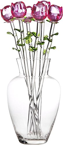 Palais Glassware Clear Glass 'Fleurs' Vase With Six Pink Glass Roses