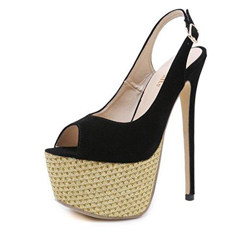 Pescado Negro Aire de Zapatos al de Señoras de Verano Boca de Las Sandalias Alto Sandalias Tacón Libre Mujer de pHUc7qH0