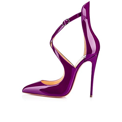 Stiletto Schuhe Spitze Knöchelriemchen Hohe Absatz Zehen Schnalle mit EDEFS Damen Lila Pumps qwXcW1HnO