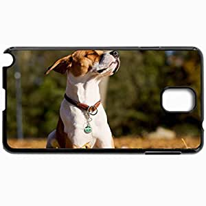 Customized Cellphone Case Back Cover For Samsung Galaxy Note 3, Protective Hardshell Case Personalized Dog Friend Background Black