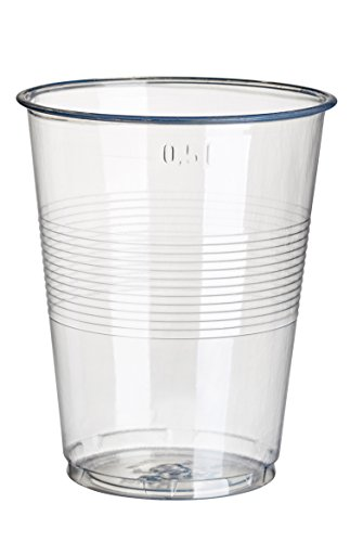 PAPSTAR Disposable 16oz Plastic Cups (Pack of 75)-Bayonet Clear Plastic 0.5L with Fill Line-Classic Design-Ideal for Events, Parties, 16144