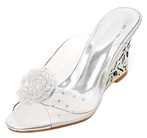 Aisun Women's Rhinestone Flower Dressy Peep Toe Jelly Clear High Heel Wedge Slide Sandals Shoes (Silver, 8 B(M) US) - Clear Wedge