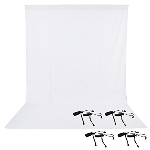 Neewer Backdrop Kit - 6x9 feet/1.8x2.8 meters Photo Studio White Backdrop Background 100 Percent Pure Muslin Collapsible With 8-pack Backdrop Holder Clips for Photography,Video and Television