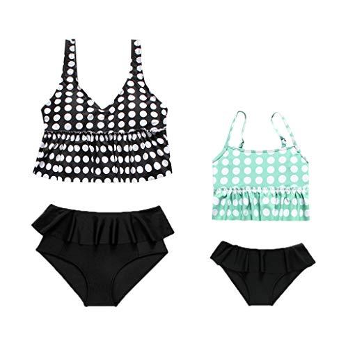 Yutao Mom&Me Baby Girls Ruffles Dot Print Summer Swimwear Swimsuit Bikini Outfits Set Black (Haute Baby Dot)