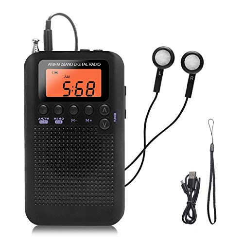 Pocket Small Radio by Flyoukki, Personal Mini Am Fm Portable Digital Tuning Transistor Radios with Best Reception, Earphones, Lanyard, AAA Battery Operated Powered for Walking Jogging Exercising