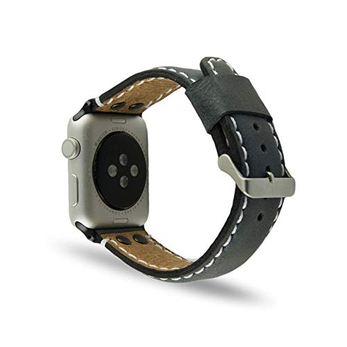 100% Handmade Full-grain black leather Apple Watch strap 42mm. Watch band made of first class aniline leather. Fits all Apple Watch versions