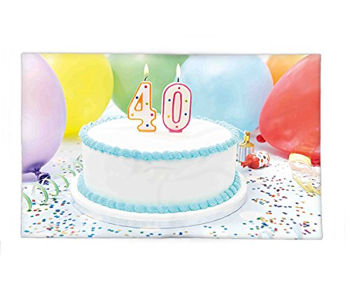 Interestlee Fleece Throw Blanket 40th Birthday Decorations Joyful Occasion Homemade Cake Candlestick Balloons Colorful Stars Multicolor