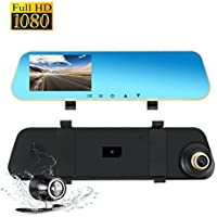 Dash Cam Dual Lens Rear View Mirror Car Backup Camera Front and Rear 1080P Full HD Video Recorder, Car DVR with G-Sensor Motion Detection Loop Recording Parking Mode 4.3 inch 140° Wide View for Car